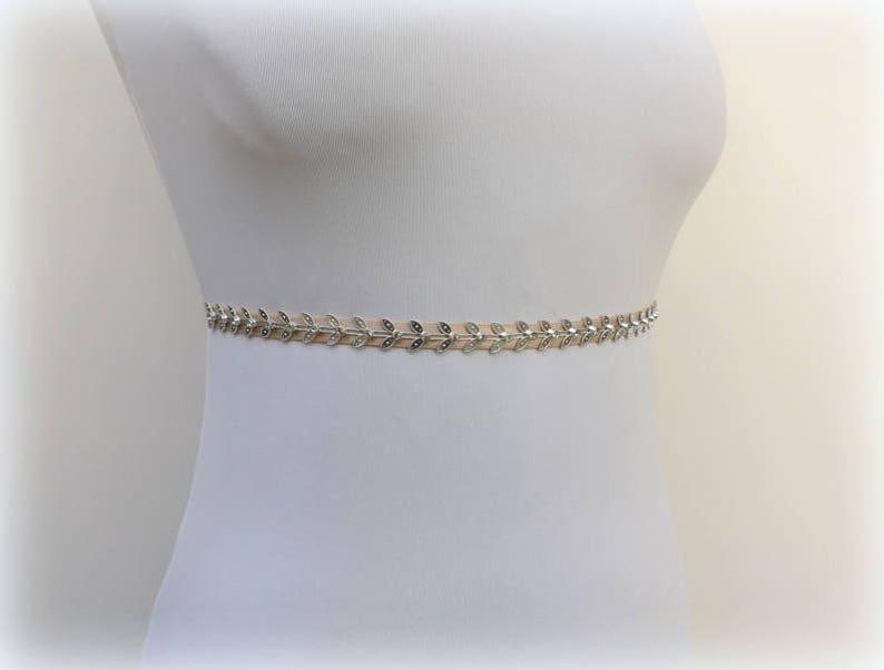 Champagne thin elastic Silver grecian leaf wedding dress waist belt