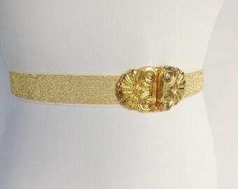 Gold elastic waist belt. Bridal gold glitter waist belt. Gold filigree buckle.