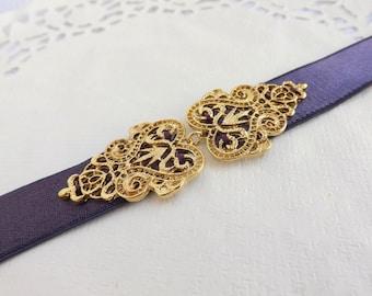 Dark Purple Elastic Waist Belt. Gold Filigree Vintage Style Buckle. Bridal/ Bridesmaid Wedding Belt.