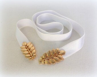 White elastic waist belt. Gold leaf buckle. Grecian style bridal/ bridesmaid wedding belt. Dress belt. Greek belt. Stretch belt.