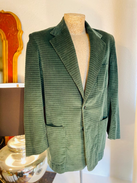 Vintage Town & Country Men's Green Corduroy-Check