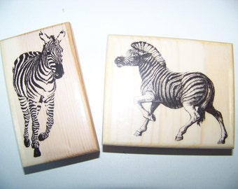 Adorable Zebra With Big Face Rubber Stamp Mounted Wood Block Art Stamp