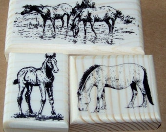 Lot of 3 Brand New Mounted Rubber Stamps - HORSES