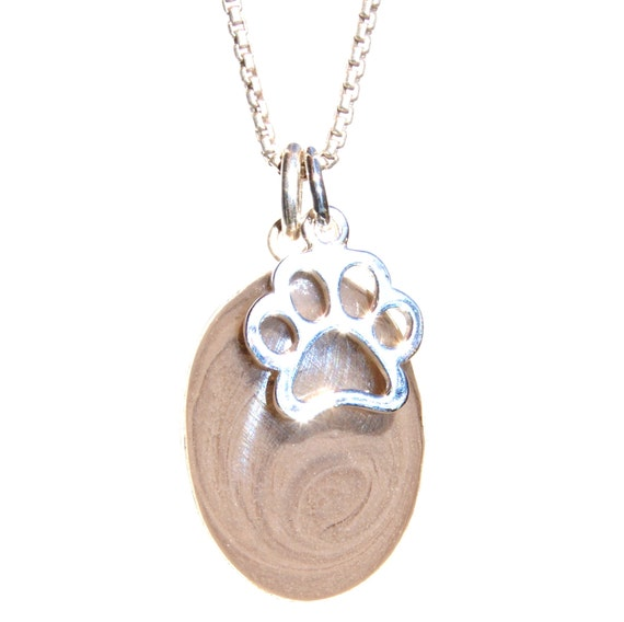 Sterling Silver Anti-Tarnish Treated Polished Puppy Paw Ash Holder Pendant