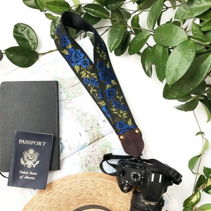 2 inch for Binocular Copper Orange Black and Green floral embroidered Nylon or hemp camera The Copper Penny Camera Strap by Native Sons