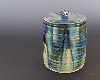 Hand-thrown Pottery Lidded Jar, Ceramic Canister, Treat Jar, Stash Jar, Tea Caddy
