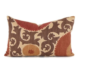 Moroccan Ikat Throw Pillow Cover Rust
