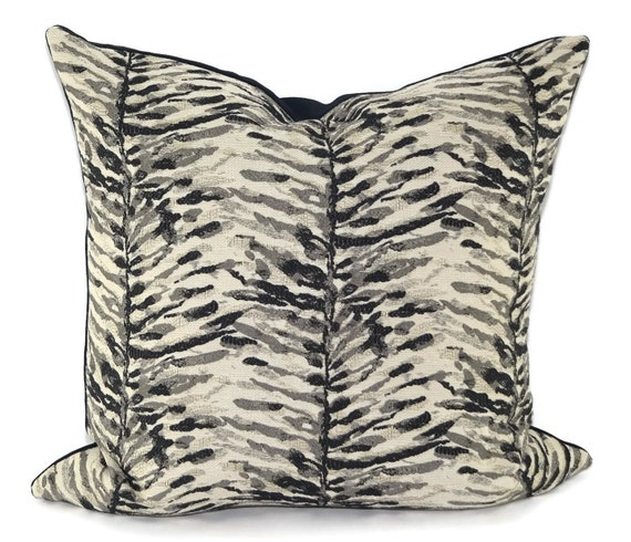 Black Gray Taupe White Throw Pillow Cover 40x40 Botanical Etsy Enchanting Etsy Pillow Covers 20x20