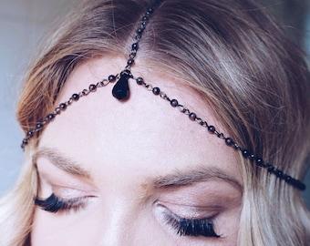 Black Teardrop Headchain Gothic Pearl Bead Headpiece Grecian Bridal Headpiece Rosary Chain Headband Rosary Chain Wedding