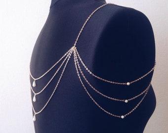 Wedding Shoulder Jewelry Bridal Shoulder Jewelry Gold Pearl Shoulder Necklace Draped Shoulder Chain Gold Silver Shoulder Jewellery