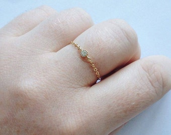 Gold Cubic Zirconia Pendant Connector Ring delicate gold dipped chain tiny cz diamond gold ring thin gold ring simple gold cz ring