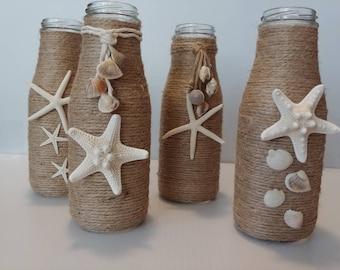 Coastal Decor   Glass Milk Bottles   Wedding Decor   Rustic Coastal   Coastal Wedding   Shell Embellished Milk Bottles