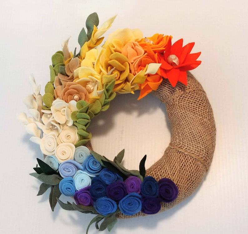 Felt Flower Wreath  Handmade Sea Wreath  Coastal Wreath  image 0