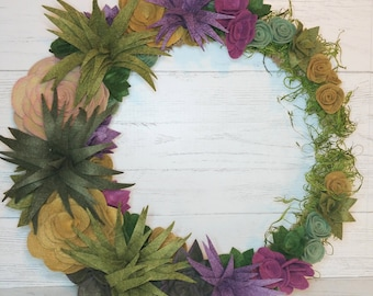 Felt Flowers   Felt Succulents   Crescent Moon Wreath   Handmade Succulent Wreath   Farmhouse Wreath   Wool Felt Succulents