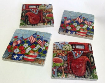Red, White, and Blue Drink Coasters | Summertime Drink Coasters | July 4th Drink Coasters | Stone Drink Coasters | Stone Coaster Set
