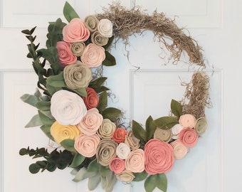Felt Flowers   Felt Flower Wreath   Boho Wreath   Handmade Felt Flowers   Crescent Moon Wreath   Farmhouse Wreath