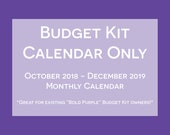 Household Budget Kit Calendar {INSTANT DOWNLOAD} 2019 Calendar with Oct to Dec 2018 // letter size // purple bold