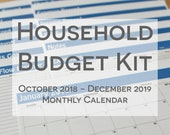 Household Budget Kit {INSTANT DOWNLOAD} 2019 Calendar with Oct to Dec 2018 // letter size // blue bold