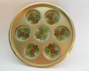 Vintage Metal Drink Tray Candle Holder With Pinecones