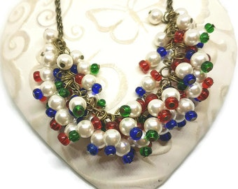Beaded cluster charm necklace glass pearls white red blue green bright