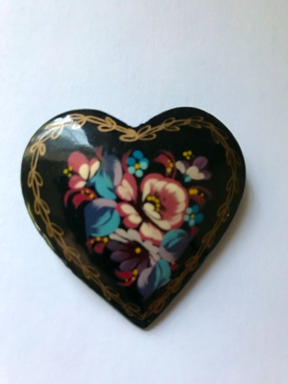 Vintage Brooch Russian Lacquer Brooch Heart Brooch