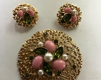 Vintage Sarah Coventry Brooch and Earrings 1970s