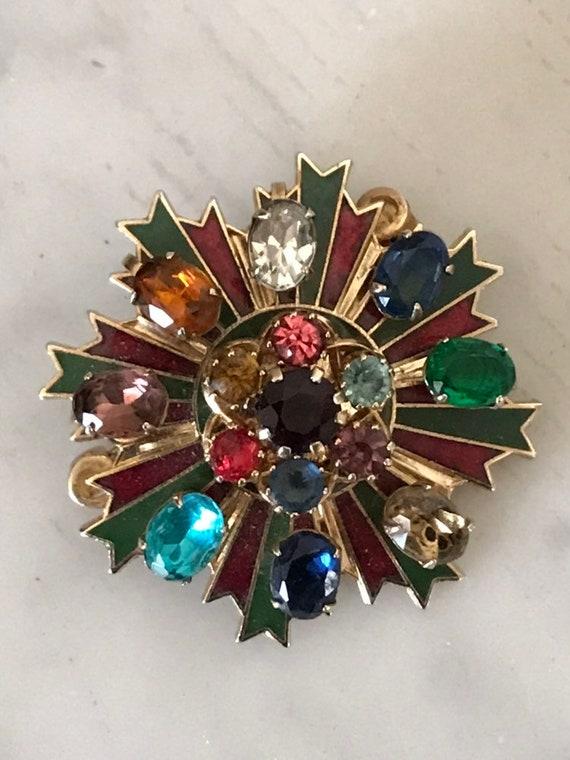Vintage Brooch Vintage Pin Enamel Pin Rhinestone … - image 2