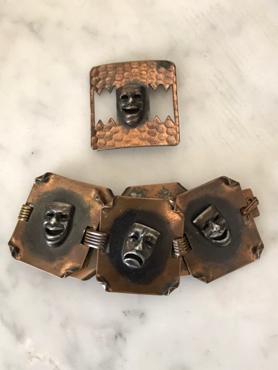 Vintage Copper Bracelet Brooch Theater Masks Mardi