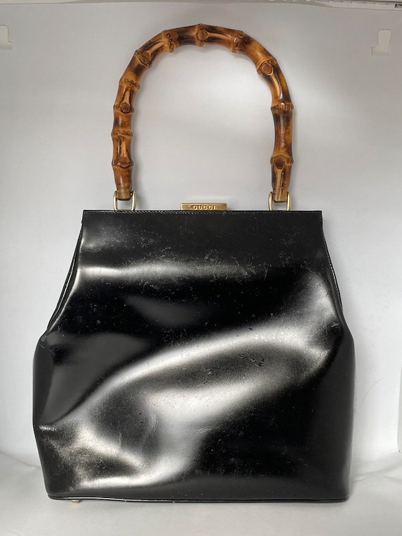 Vintage Gucci Black Leather Bamboo Top Handle Hand