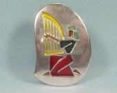 STERLING VIRGO ZODIAC Horoscope Pin Brooch Pendant Combo-Vintage 925 Silver-Blue Red Yellow Black Enamel Inlay-Israeli Israel Harp Nebel