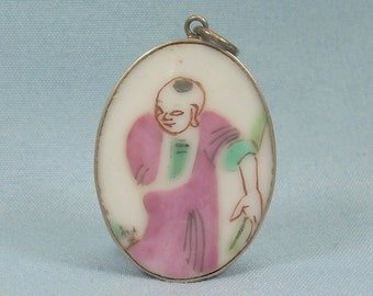 39e50e17e172 HAND PAINTED PORCELAIN Pendant-Vintage Gold On Sterling Silver-Oval Ceramic  Pottery-Pink Green Robe-China Chinese-2781