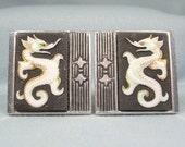 JAPANESE TOSHIKANE Cuff links-Antique Vintage Silver-Black White Porcelain-Gold Accent-Japan Hallmark-Seahorse Dragon Sea Creature Cufflinks