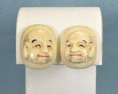 STERLING JAPANESE TOSHIKANE Screw Back Earrings-Antique Vintage Silver-Hand Painted Porcelain Japan God Of Happiness Hotei Laughing Buddha