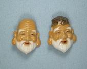 JAPANESE TOSHIKANE IMMORTALS Button Pair-Antique Vintage Painted Porcelain-Tokyo Japan-Deity God Of Longevity Juro Jin Wisdom Fukuroku Ju