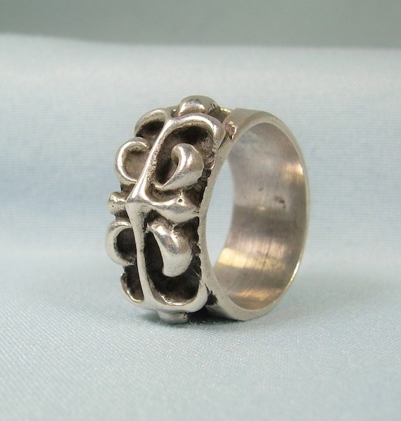 STERLING FLEUR De Lys Lis Wide Band Ring Size 6-14 Vintage 925 Silver-French Lily-Heavy Chunky-Possibly Chrome Heart CH Biker Tattoo Gothic
