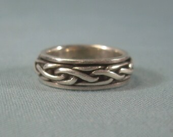 PSCL CELTIC KNOT Spinner Band Ring Size 5-Vintage Sterling Silver 925-Dublin Ireland Peter Stone Hallmark-Irish Gaelic-Worry-Love-06190
