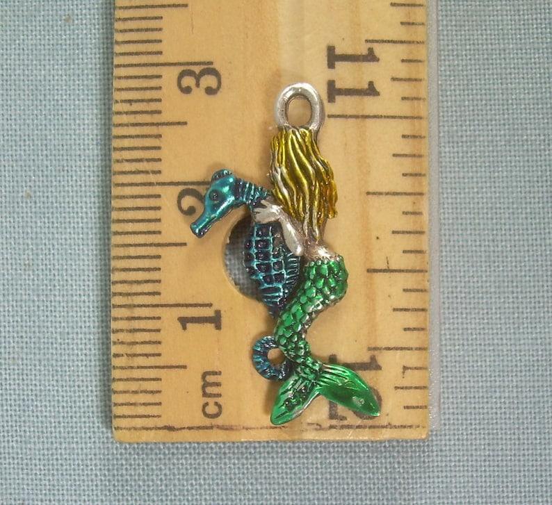 STERLING MERMAID RIDING Seahorse Pendant Charm-Vintage Silver-Blue Green Yellow Enamel-3D Double Sided-Sailor Siren Maiden Ocean Sea Horse