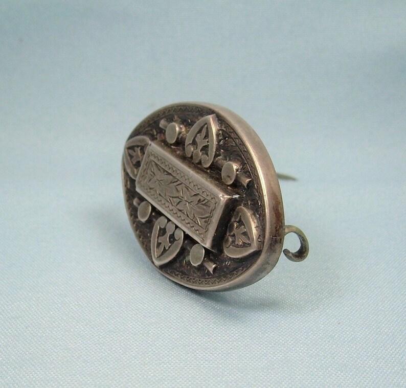 STERLING VICTORIAN MOURNING Locket Pin Brooch-Antique Vintage 925 Silver-Secret Picture Photo Hair Keepsake Box-Fancy Ornate Scrolls Frame