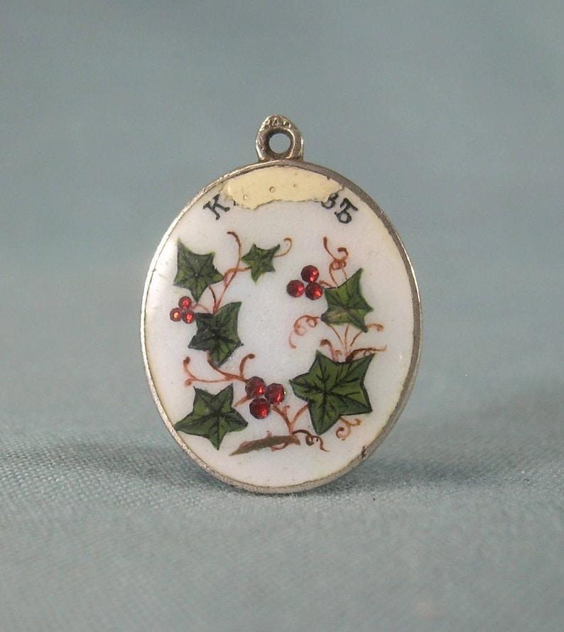ANTIQUE RUSSIAN Holly Berries Pendant-Vintage 875 84 Silver Zolotnik  Mark-Glass Enamel Porcelain-Hallmark-Berry Ivy Vine-Not Quite Sterling