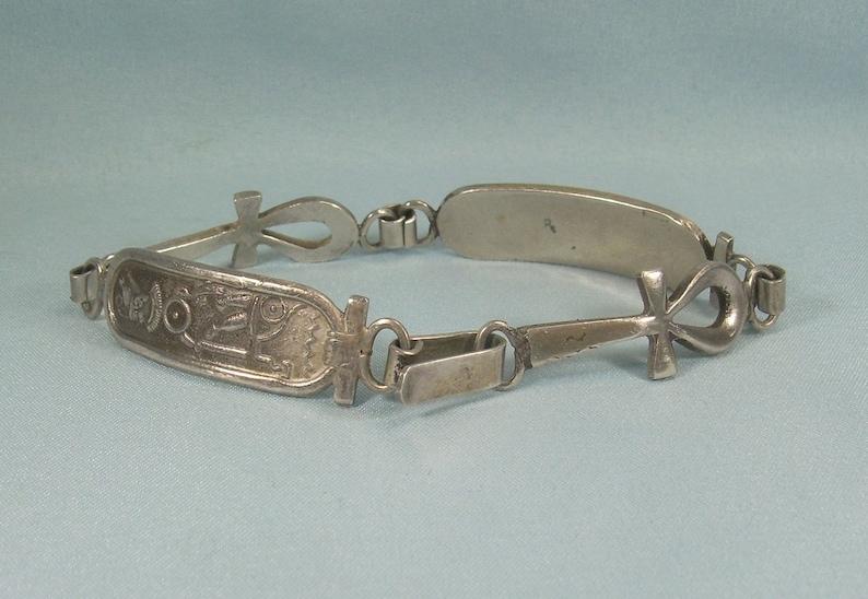800 SILVER EGYPTIAN ANKH Cross Cartouche Hook Bracelet-Vintage Antique Cairo Egypt 1948 Hallmark-Religious Key Nile Life-Not Quite Sterling