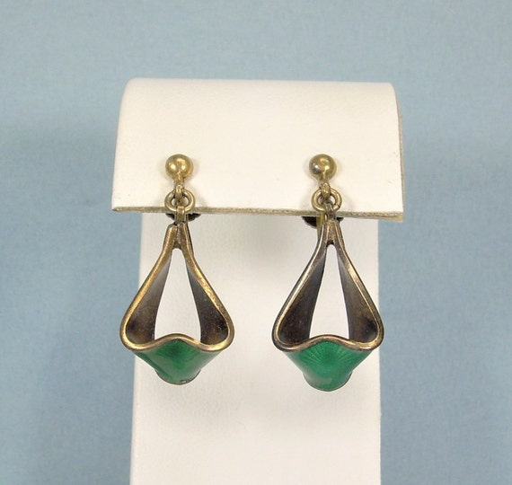 Swedish 1950/'s Silver Screw Back Earrings With Leaves and Florals Midcentury Marked GD /& Co