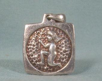 VIRGO VIRGIN Pendant-Vintage Sterling FINE Silver 999 Bullion Ingot-Hallmarked-August September Birthday-Horoscope Zodiac-Earth Element-8076