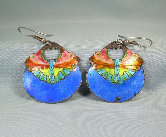 STERLING CHINESE BUTTERFLY Moths Wire Hook Earrings-Vintage 925 Silver-Blue Pink Orange Lime Green Enamel-Cloisonne-Traditional China
