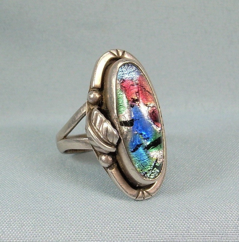 STERLING DICHROIC Glass Ring Size 6-12 Vintage 925 Silver-Mexico Foil Dragons Eye-Blue Green Pink Purple-Balls Leaf Feather Notched Oval