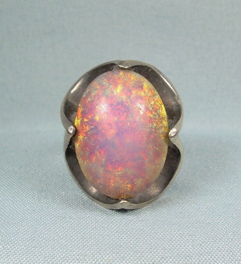 STERLING HARLEQUIN CONFETTI Glass Ring Size 6-Vintage 925 Silver-Mexico Foil Opal-Rainbow Dragons Breath Eye-Yellow Purple Orange Blue Pink