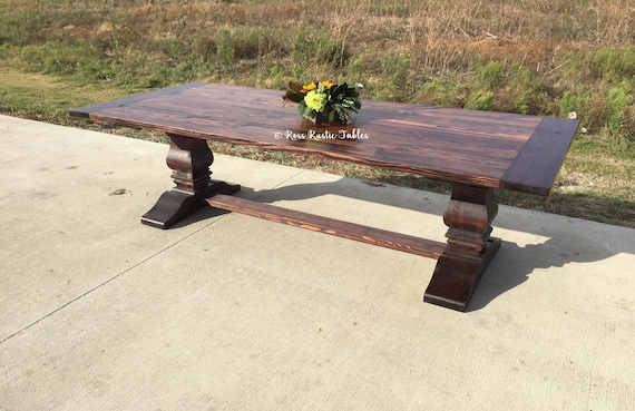 Rustic Trestle Dining Table Etsy