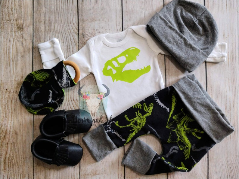 Baby Boy Going Home Outfit Newborn Baby Boy Gift Set Dinosaur Onesie Dinosaur T-Rex Baby Boy Coming Home Outfit