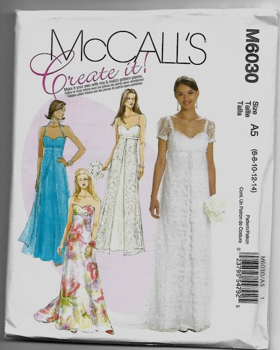 M6030 McCall\'s Jane Austen Wedding Dress Sewing Pattern Sizes 6-8-10 ...