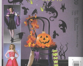 M7209 McCall's Maleficent Sleeping Beauty Aprons, Table and Chair Leg Decorations, and Silhouettes Sewing Pattern Sizes XS-S-M-L-XL