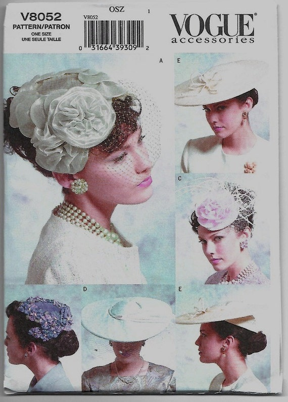 bdc4bb19c22 V8052 Vogue Women s Vintage 1950s Hats Sewing Pattern Five
